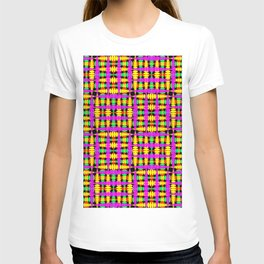 Strict poplite of intersecting blue squares and green curly rhombuses. T-shirt