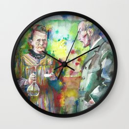 MARIE and PIERRE CURIE - watercolor portrait Wall Clock