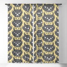 Mid Century Modern Cat Black Yellow Sheer Curtain