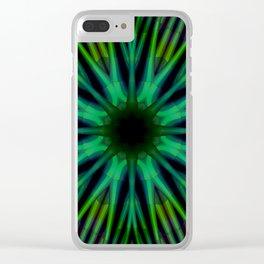 Green Diamond Lattice Clear iPhone Case