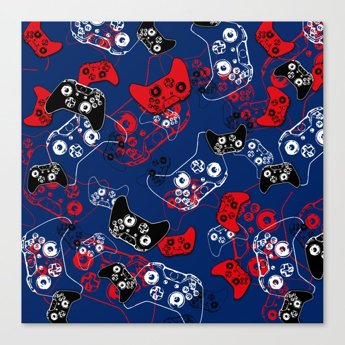 Video Game Red White & Blue 1 Canvas Print