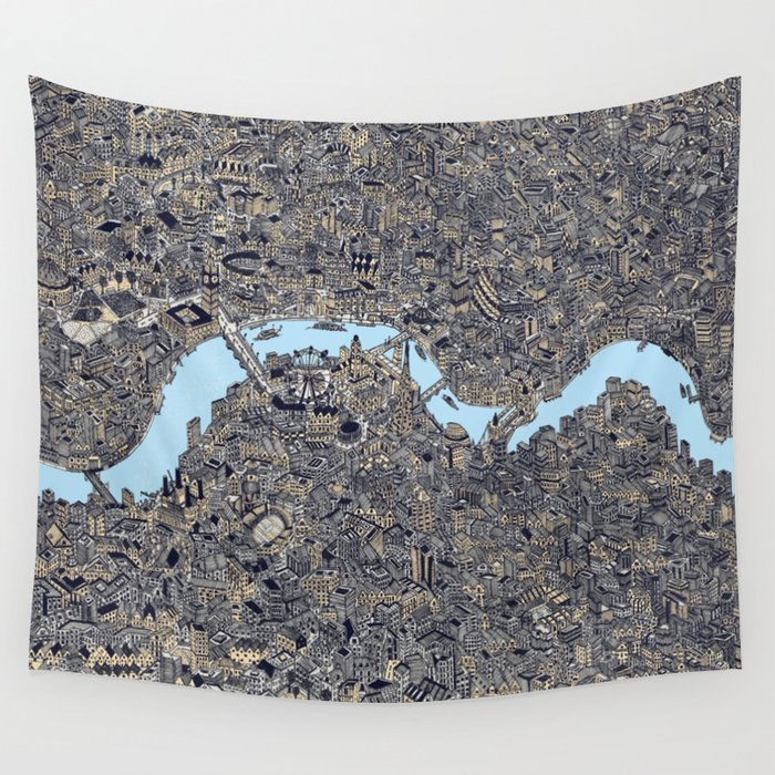 London color map city drawing illustration Thames Wall Tapestry