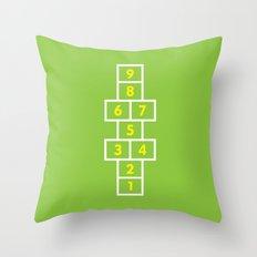 Hopscotch Green Throw Pillow