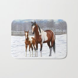 Bay Paint Horse Mare and Foal In Winter Bath Mat