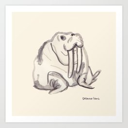 Ink Walrus Art Print