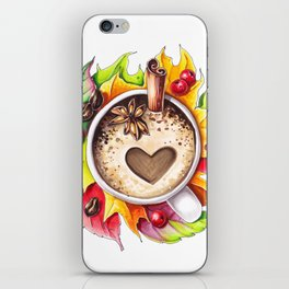 Fall and cup of coffee iPhone Skin