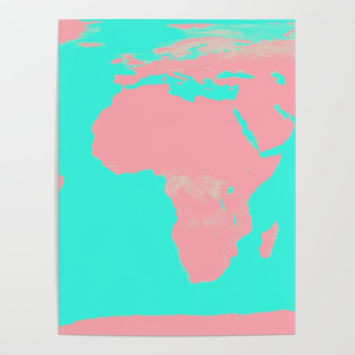Undistorted World Map Pink Aqua Poster by vintageby2sweet