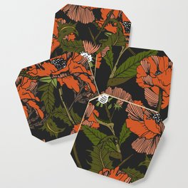 Autumnal flowering of poppies Coaster