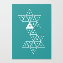Teal Unrolled D20 Canvas Print