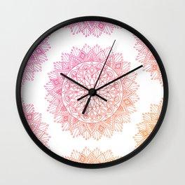 Pink & Orange Mandala Wall Clock