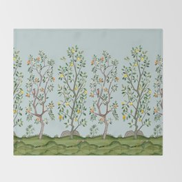 Chinoiserie Citrus Grove Mural Multicolor Throw Blanket