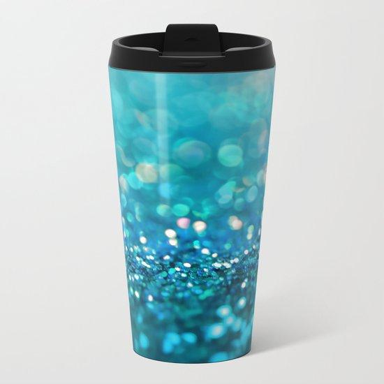 Aqua turquoise blue shiny glitter print effect- Sparkle Luxury Backdrop Metal Travel Mug
