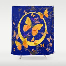 VINTAGE  YELLOW BUTTERFLIES SHABBY CHIC ART Shower Curtain