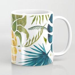 Golden pineapple on palm leaves foliage Coffee Mug