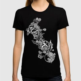 Pieces of China: Clusters (white on red) T-shirt