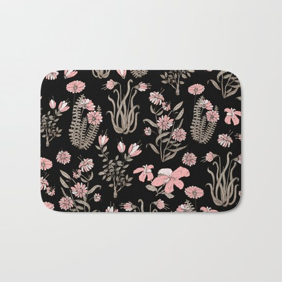 PINK FLOWER AT NIGTH Bath Mat