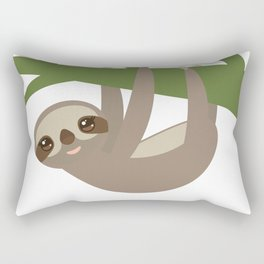 Three-toed sloth on green branch Rectangular Pillow