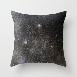 Starry sky with millions of stars, Milky Way galaxy, Eagle nebula, Omega nebula Throw Pillow