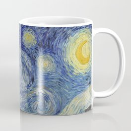 The Starry Night by Vincent van Gogh 1889 // Abstract Brush Stroke Detail Mountains Stars City Scene Coffee Mug