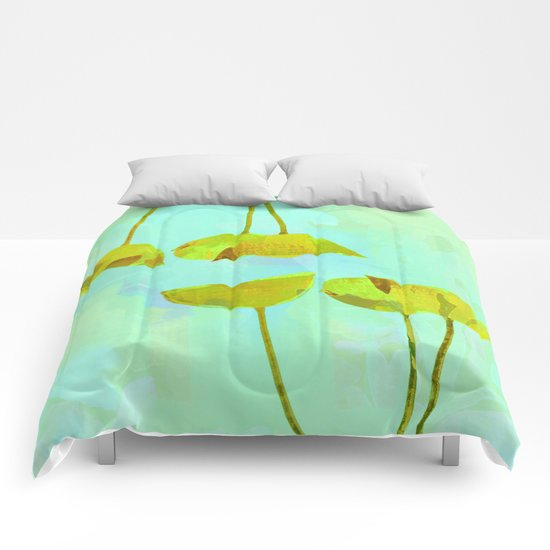 6 yellow flowers on turquoise Comforters
