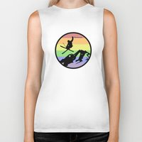 skiing Biker Tanks featuring skiing 2 by Paul Simms