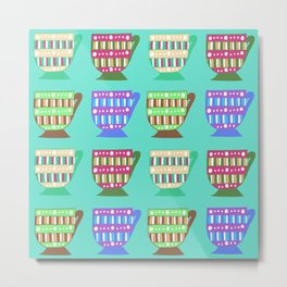 Bright Multicoloured Pop-Art Doodle Teacups Illustrated Pattern Metal Print