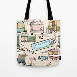 Vintage Glamping Camping Style Tote Bag