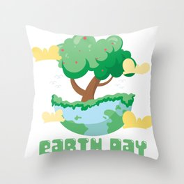 Earth Day Tree Throw Pillow