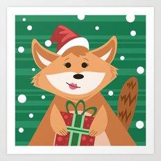 Christmas Fox Art Print