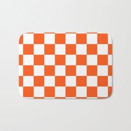 Cheerful Orange Checkerboard Bath Mat