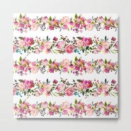 Elegant magenta pink green watercolor floral stripes pattern Metal Print