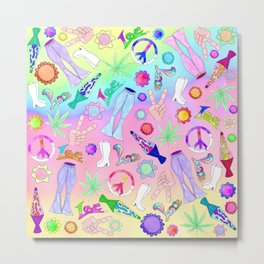 Psychedelic 70s Groovy Collage Pattern Metal Print