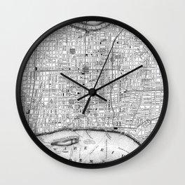 Vintage Map of Philadelphia Pennsylvania (1860) BW Wall Clock