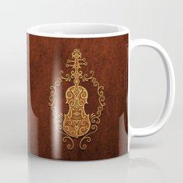 Aged Vintage Brown Tribal Violin Design Coffee Mug