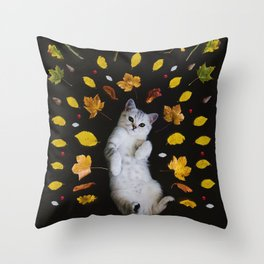 Kitty Harvest (Color) Throw Pillow