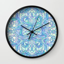 Lilac, Mint & Aqua Art Nouveau Pattern Wall Clock