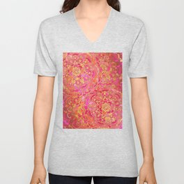Hot Pink and Gold Baroque Floral Pattern Unisex V-Neck