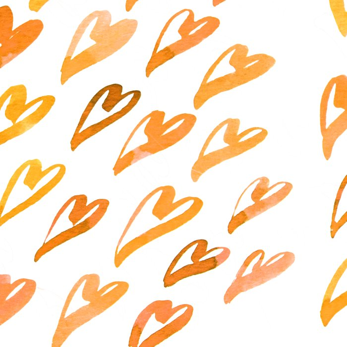 Geometric pattern with hearts - orange Leggings