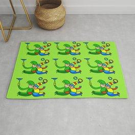"Multiplied Twin Jugglers In Color for Kids on Green Board  ""Paper Drawings/Paintings"" Rug"