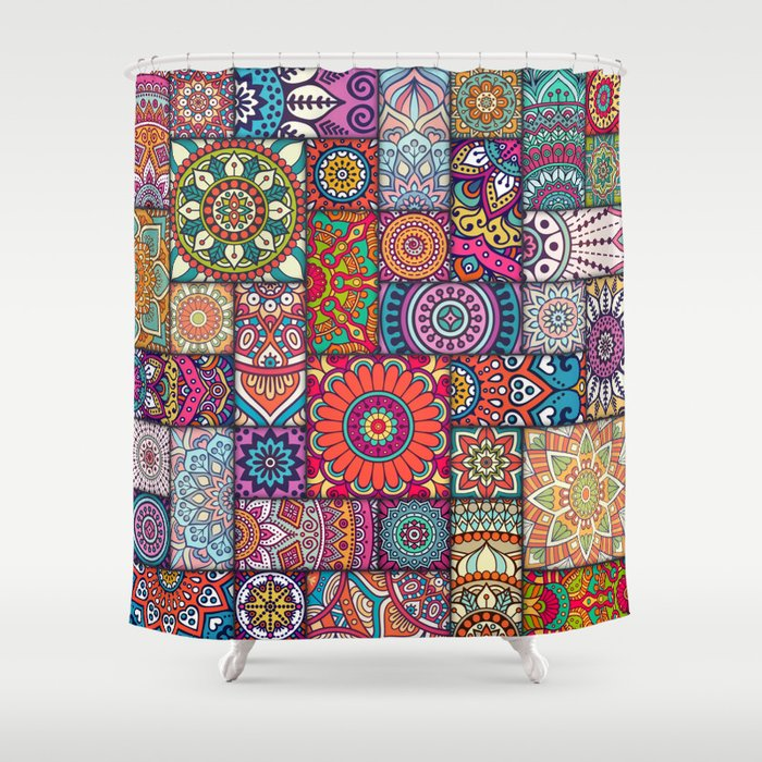 Boho Patchwork Quilt Pattern 2 Shower Curtain