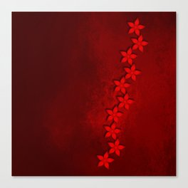 Flowers in vivid red on grunge texture Canvas Print