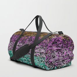 psychedelic geometric drawing abstract in purple pink brown green and black Duffle Bag