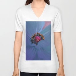 Afterglow, Vibrant, colorful poppy floral art Unisex V-Neck