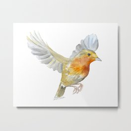 Robin in Flight Watercolor Metal Print