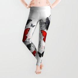 Flying Black and Red Morpho Butterflies Leggings