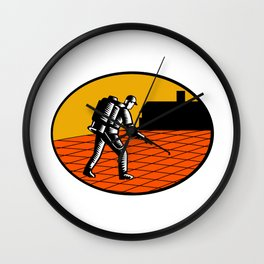 Paver Sealer Contractor House Oval Woodcut Wall Clock