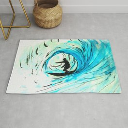 Solo - Surfing the big blue wave Rug
