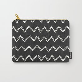 Moroccan Horizontal Stripe in Black and White Carry-All Pouch