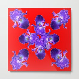 Purple Iris Pattern om Red Art Metal Print