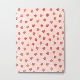 Strawberries on Pink Metal Print
